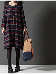 2017 printemps nouvelle coréenne lisse taille grande femme confortable robe ronde robe à rayures