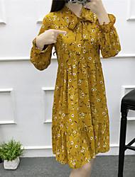 Frühjahr neue echter Schuss sen weibliche Linie Kragen elastischer Bund mit langen Ärmeln Blumen Chiffon gefaltetes Kleid steht