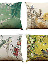 Set of 4 Chinese Style Retro Pattern  Linen Pillowcase Sofa Home Decor Cushion Cover