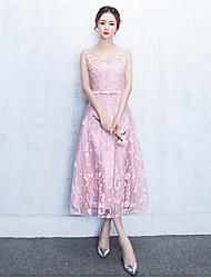 Tea-length Jewel Bridesmaid Dress - Open Back Sleeveless Lace