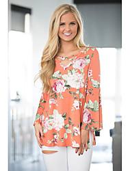 Aliexpress wish amazon ebay explosion modèles trompette manches pliées sur sa poitrine imprimé t-shirt