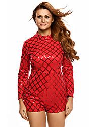 Red Diamond Sequins Long Sleeves Romper