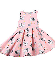 Girl's Kids Dress Summer Sleeveless Cotton Child Clothes Girl Baby Pink Clothes Dresses