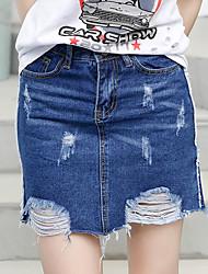 Sign spring and summer new Korean version of burr hole masticate waist denim skirt female