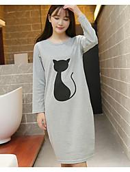 Women Chemises & Gowns Nightwear,Print Animal Print-Medium Cotton Gray Women's