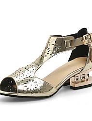 Золотой Розовый Светло-коричневый-Для женщин-Для офиса Для праздника Для вечеринки / ужина-Полиуретан-На толстом каблуке-Кольцевые обувь-