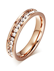 Rose Gold Plated Ring For Women Kids Rings Girls Finger Jewelry Crystal Fashion Stainless Steel Accessories R-050