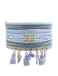 Fashion Women   Corder Tassel  Rhinestone  Crystal Leather Bracelet