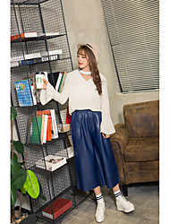 New Sign washed pu leather casual wide leg straight jeans female