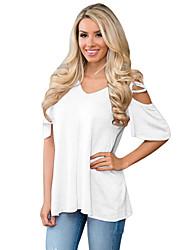 Tee-shirt Femme,Couleur Pleine Sortie Plage Vacances simple Eté ½ Manches Col en V Polyester Spandex Moyen