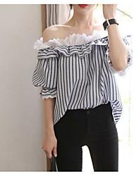 2017 versão coreana nova do verão da camisa strapless sexy de costura do laço do pescoço