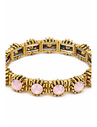 Women's Strand Bracelet Gold Plated Opal Alloy Natural Fashion Round White Green Pink Jewelry 1pc