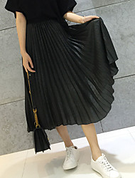 Sign new spring 2017 women's satin metallic color elastic waist pleated skirt A word skirt