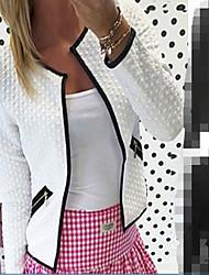 Damen Solide Einfach Lässig/Alltäglich Mantel,V-Ausschnitt Frühling Winter Lange Ärmel Standard Baumwolle
