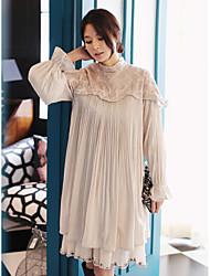 Novos itens dobra vinco korean wild sweet lace dress