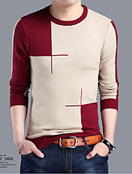 Men's Casual/Daily Simple Regular Cashmere,Jacquard Round Neck Long Sleeve Wool Spring Medium Micro-elastic