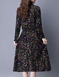 Outono mulheres novo vestido de mangas compridas foi cintura fina impressão bolso grande saia