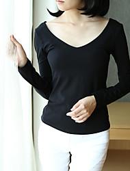 Damen Solide Sexy Ausgehen T-shirt,V-Ausschnitt Langarm Baumwolle