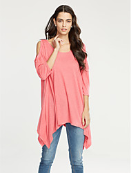 Women's Going out Casual/Daily Simple Summer T-shirt,Solid Round Neck ¾ Sleeve Cotton Opaque Thin