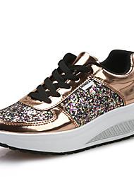 Damen-Loafers & Slip-Ons-Outddor Büro Lässig-Kunstleder-Keilabsatz-Komfort Leuchtende Sohlen-Gold Weiß Silber
