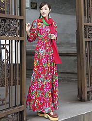 signe au nord-est par dora 2017 printemps nouvelle grande fleur xin zhang même robe de feuilles de couleur
