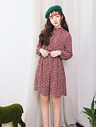 Sign spring new retro loose big yards Floral Chiffon Dress Free Belt ~