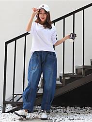 Для женщин Others strenchy Свободный силуэт Брюки,Со стандартной талией Свободный силуэт Чистый цвет Сплошной цвет