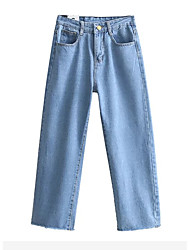 Women's High Rise Inelastic Jeans Pants,Simple Straight Solid