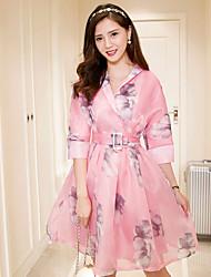 Sign new Korean fashion ladies gas field pink organza short-sleeved dress waist Puff Jacket