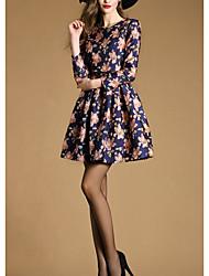 2015 Autumn new women's temperament waist pleated round neck long-sleeved dress Slim
