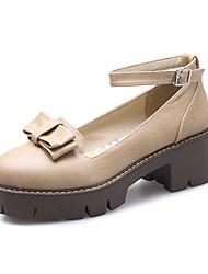 Feminino-Saltos-Menina Flor Shoes Sapatos clube-Salto Grosso-Preto Cinzento Amêndoa-Courino-Casamento Festas & Noite