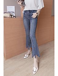 подписать новый корейский стрейч загрузки вырезать паз щели ноги тонкий был тонкий брюки джинсовые женщина