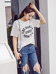 Sign 2017 spring new Korean Fan minimalist style washed cotton round neck T-shirt printing letters pattern blouses