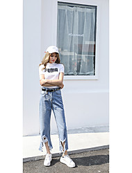 Sign in front of the new Korean large jagged hole personality jeans female significant lanky waist straight jeans