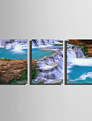 E-HOME Stretched Canvas Art Spectacular Waterfall Landscape Decoration Painting Set Of 3