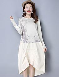 Ample Robe Femme Sortie Chinoiserie,Imprimé Col Arrondi Asymétrique Manches Longues Polyester Printemps Eté Taille Normale Micro-élastique