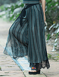 2017 theatrical retro national wind original design lace stitching slits wide leg pants