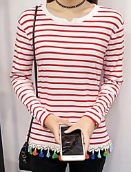 firmare la primavera e l'autunno della banda nuova scollo a V a maniche lunghe in maglia studente t-shirt Versione coreana che basa la