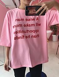 2017 nova coréia ulzzang letras rosa algodão de manga curta t-shirt mulheres