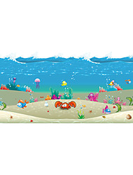 Seabed Seamless Splice 3D Seawater PVC Glass Stickers Decoration for The Bathroom