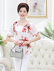 Damen Blumen Einfach Lässig/Alltäglich T-shirt,Rundhalsausschnitt Kurzarm Polyester