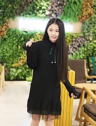 Korean bow long-sleeved lace dress female loose flounced skirt bottoming tide