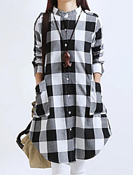 Women's Casual/Daily Simple Loose Dress,Check Stand Above Knee Long Sleeve Cotton Spring Summer Mid Rise Inelastic Medium