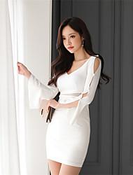2017 spring Korean version of the new Slim speaker sleeve V-neck long-sleeved fashion perspective package hip dress