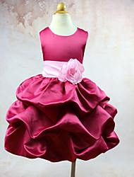 Ball Gown Knee-length Flower Girl Dress - Organza Taffeta Jewel with Flower(s)
