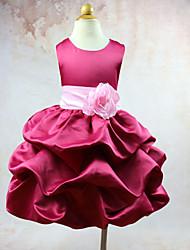 Vestido de baile vestido de flor com joelho vestido - organza tafetá jóia sem mangas pescoço com flor