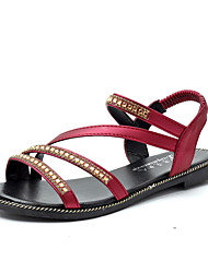 Damen Sandalen Komfort PU Frühling Sommer Normal Kleid Komfort Strass Flacher Absatz Schwarz Rot Blau Flach