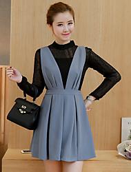 Signe printemps 2017 nouvelle robe de mousseline de soie chemise à manches longues de la mode écharpe en deux parties