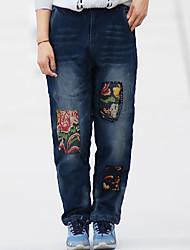 Feminino Simples Cintura Média Inelástico Jeans Calças,Solto Animal,Patchwork Jacquard