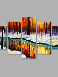 IARTS®Hand Painted Landscape Oil Painting The Trees and The Water Reflection Wall Art with Stretched Frame Set of 5